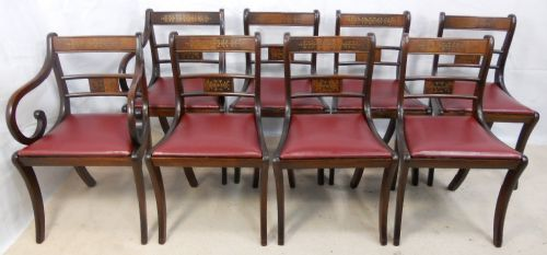 Set of Eight Regency Style Brass Inlaid Mahogany Dining Chairs